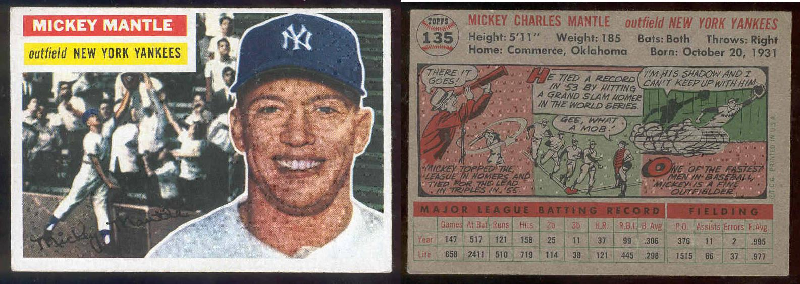 1956 Topps #135 Mickey Mantle (Yankees) Baseball cards value