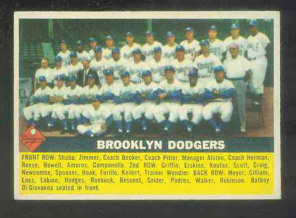 1956 Topps #166 Dodgers TEAM card [#b] Baseball cards value