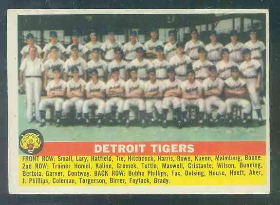 1956 Topps #213 Tigers TEAM card Baseball cards value