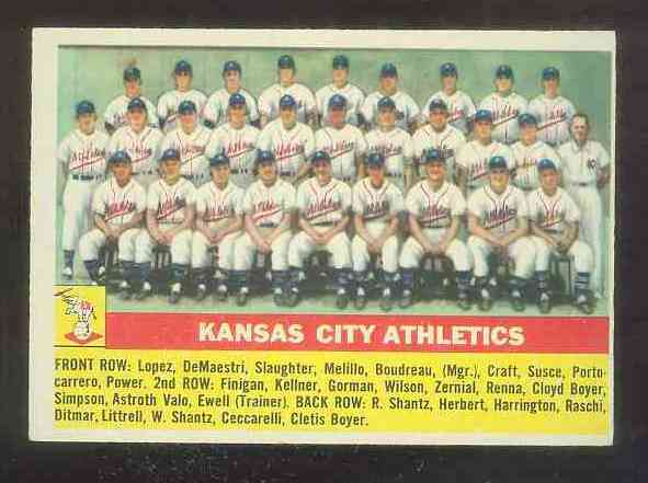 1956 Topps #236 Kansas City Athletics TEAM card [#b] (A's) Baseball cards value