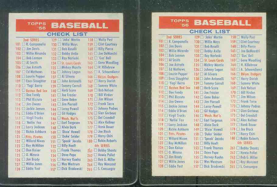 1956 Topps  #2/4 CHECKLIST [#f] Baseball cards value