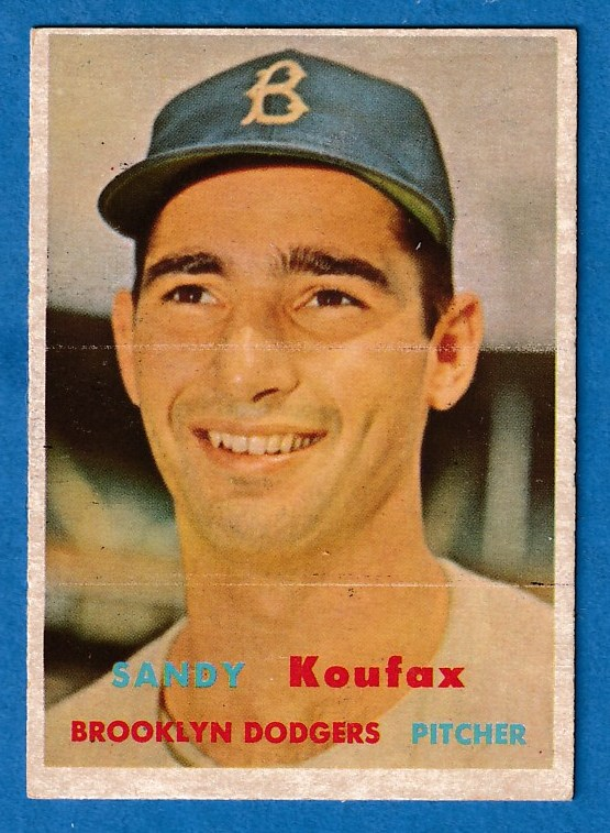 1957 Topps #302 Sandy Koufax SCARCE MID SERIES (Brooklyn Dodgers) Baseball cards value