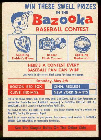 1957 Topps   #1 Contest Card (Series 1,May 4th) Baseball cards value