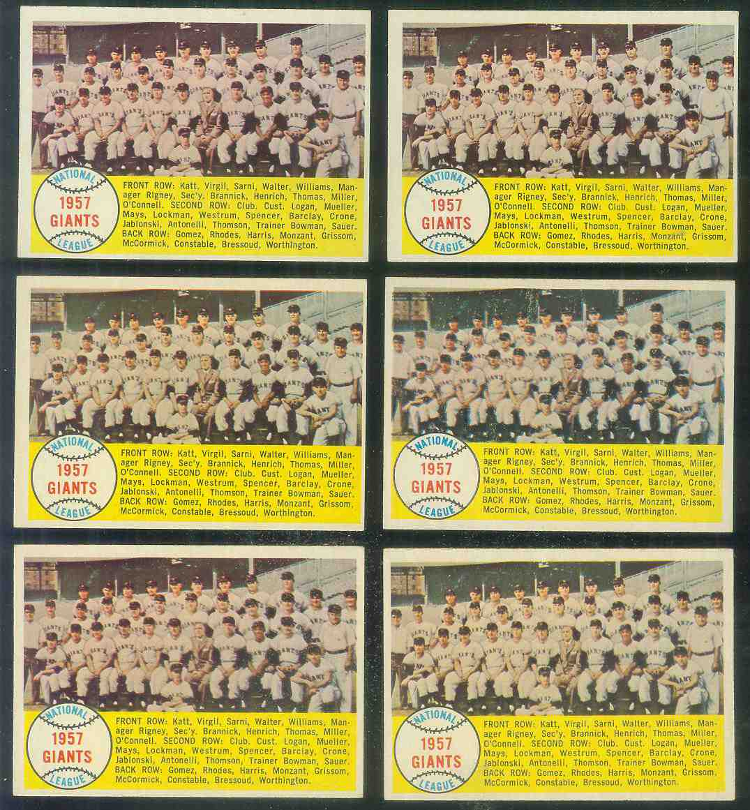 1958 Topps #.19 New York Giants TEAM card [#b] Baseball cards value