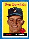 1958 Topps # 25 Don Drysdale (Dodgers)
