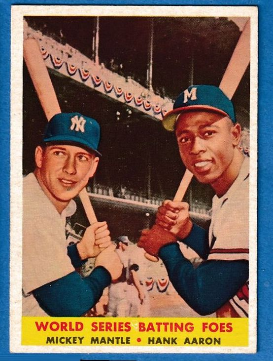 1958 Topps #418 Mickey Mantle/Hank Aaron [#a] (Yankees/Braves) Baseball cards value