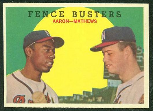1959 Topps #212 'Fence Busters' Hank Aaron/Eddie Mathews [#a] (Braves) Baseball cards value
