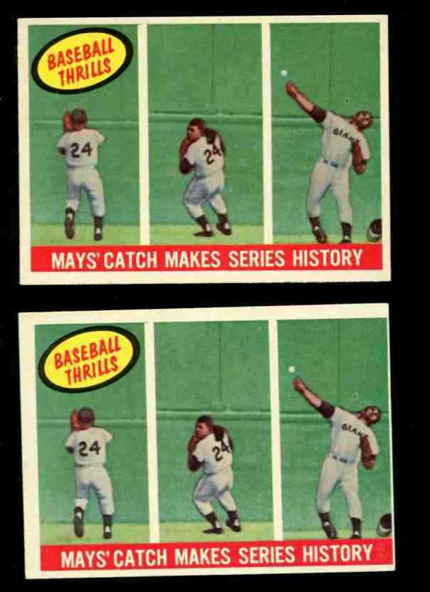 1959 Topps #464 Willie Mays 'Baseball Thrills' [#b] (Giants) Baseball cards value