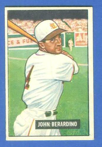 1951 Bowman #245 John Berardino ROOKIE (St. Louis Browns) Baseball cards value