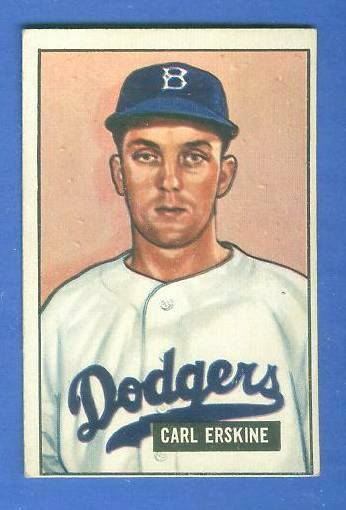 1951 Bowman #260 Carl Erskine ROOKIE SCARCE HIGH# (Brooklyn Dodgers) Baseball cards value