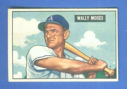 1951 Bowman #261 Wally Moses SCARCE HIGH# (Philadelphia A's) Baseball cards value