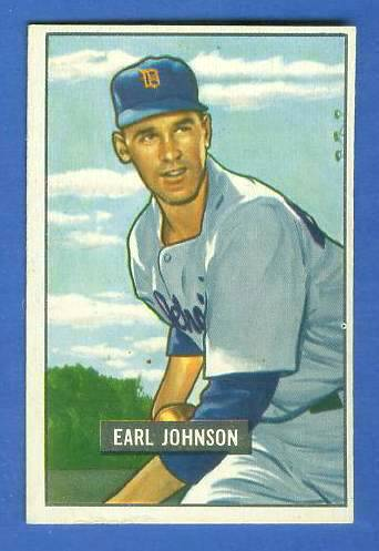 1951 Bowman #321 Earl Johnson SCARCE HIGH# (Tigers) Baseball cards value