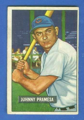 1951 Bowman #324 Johnny Pramesa ROOKIE SCARCE HIGH# (Reds) Baseball cards value