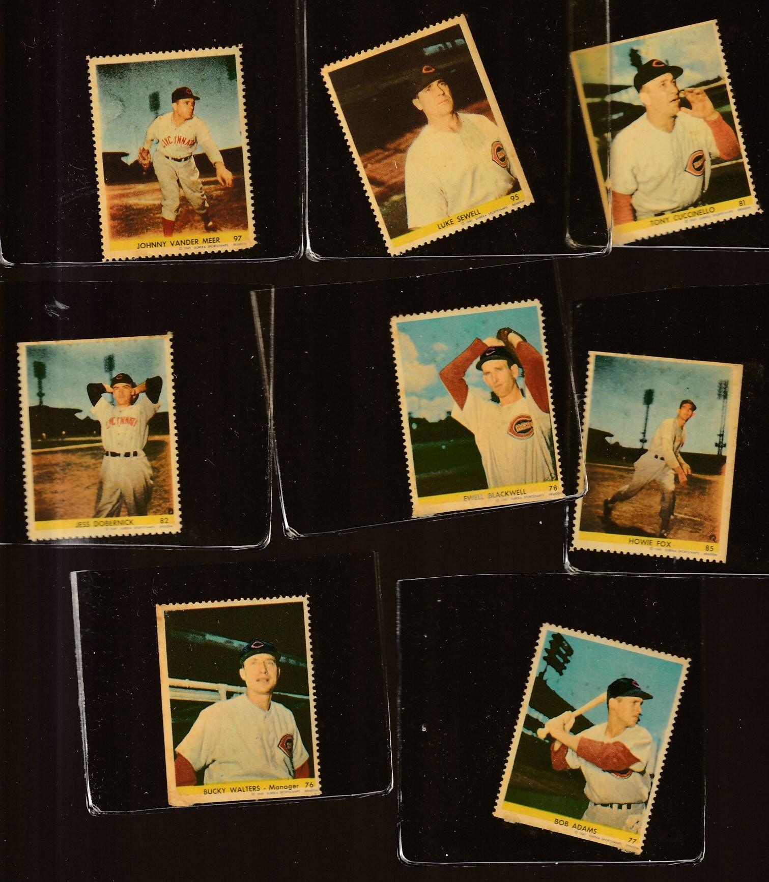 1949 Eureka Stamps - REDS - Lot of (8) different Baseball cards value