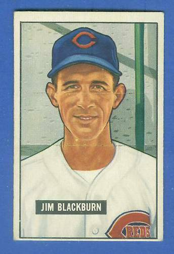 1951 Bowman #287 Jim Blackburn SCARCE HIGH# (Reds) Baseball cards value