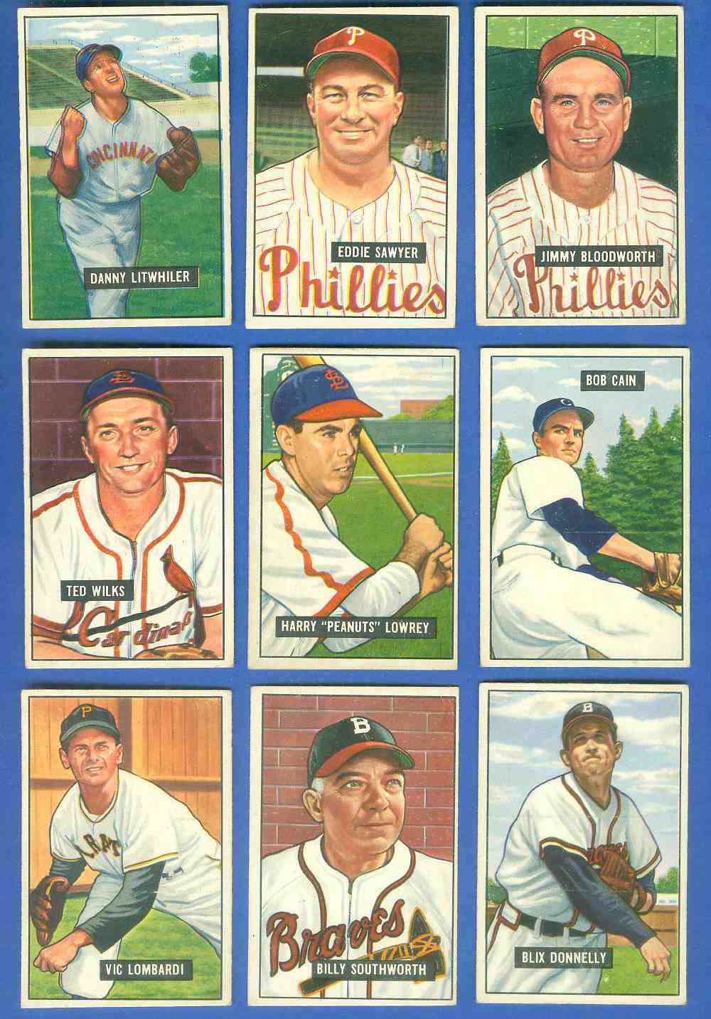 1951 Bowman #194 Peanuts Lowrey (Cardinals) Baseball cards value