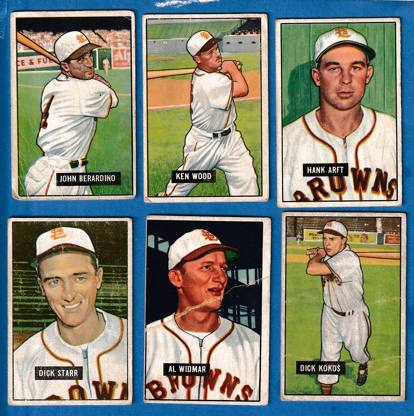 1951 Bowman  - BROWNS (St. Louis) - Starter Team Set/Lot (6 w/2 Hi#'s) Baseball cards value