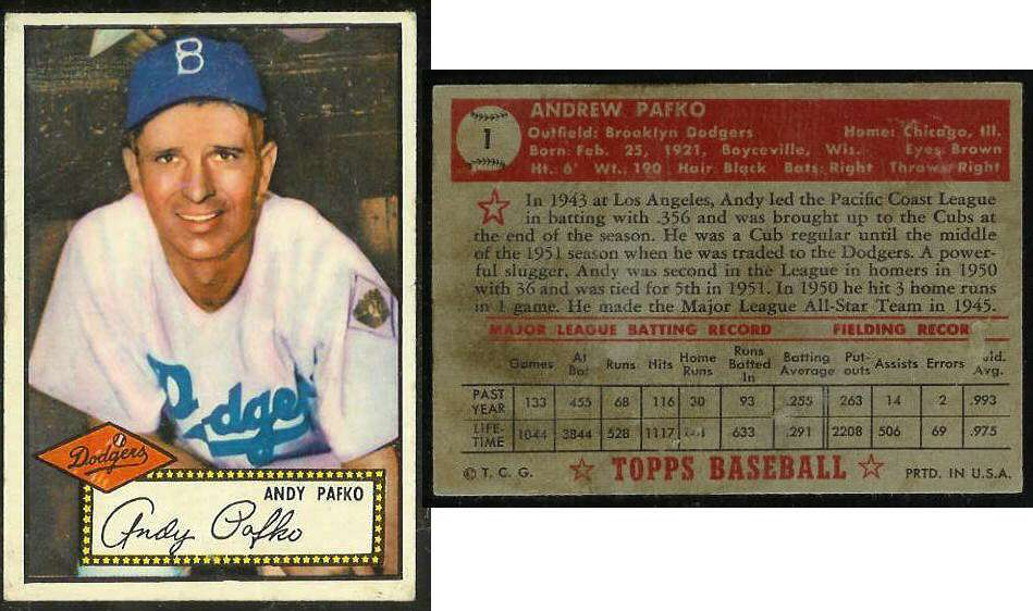 1952 Topps #..1 Andy Pafko (Brooklyn Dodgers) Baseball cards value