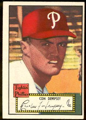 1952 Topps # 44 Con Dempsey BLACK-BACK (Phillies) Baseball cards value