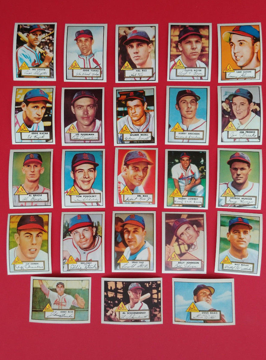 St Louis Cardinals 1952 Topps Archives Complete Team Set
