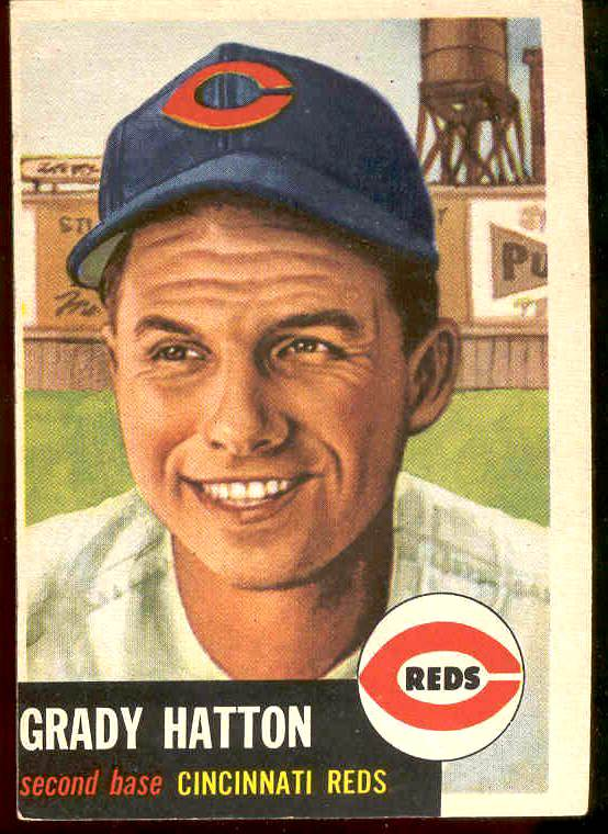 1953 Topps # 45 Grady Hatton (Reds) Baseball cards value