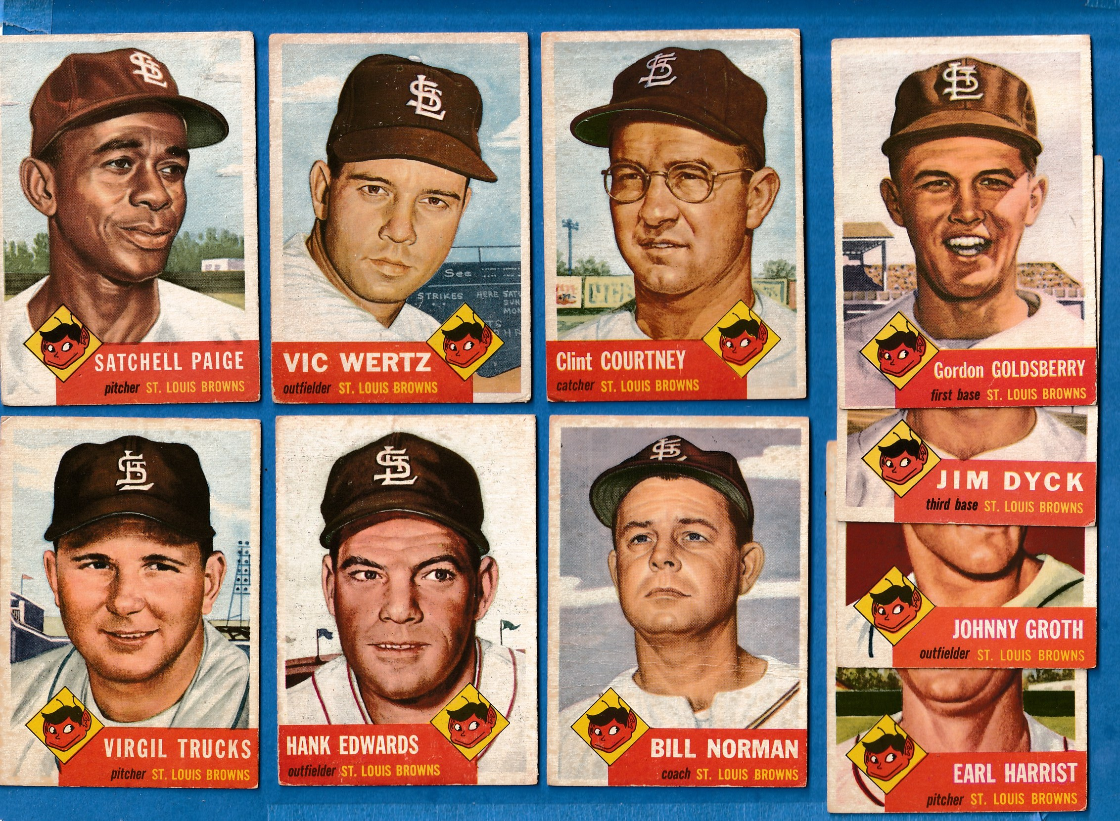 1953 Topps  - BROWNS (St. Louis) - Starter Team Set (10/18) w/SATCHEL PAIGE Baseball cards value