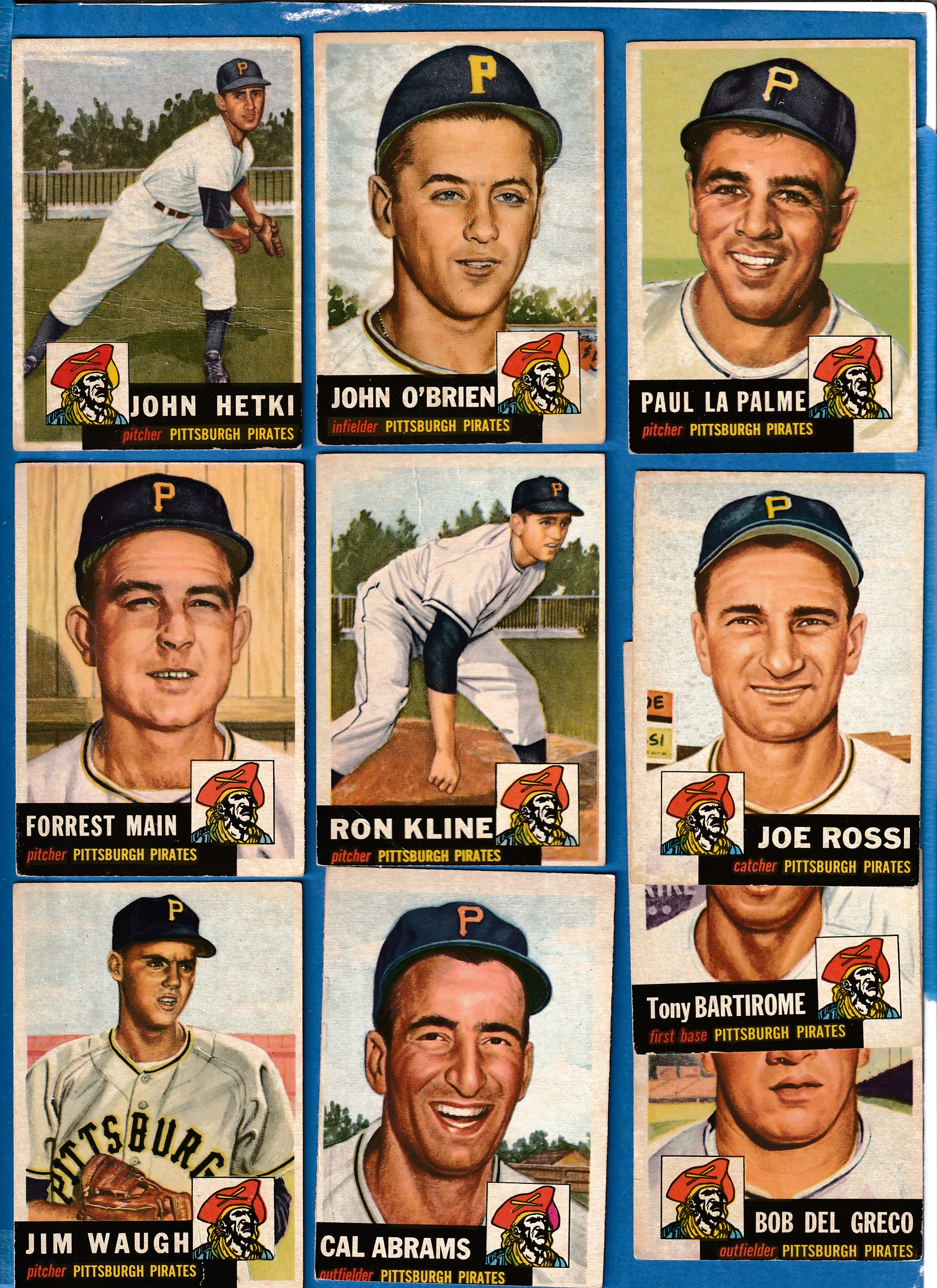 1953 Topps  - PIRATES - Starter Team Set/Lot (11 different) Baseball cards value