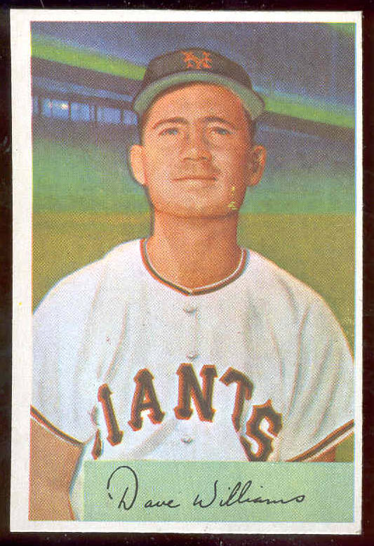 1954 Bowman #  9 Dave Williams (New York Giants) Baseball cards value