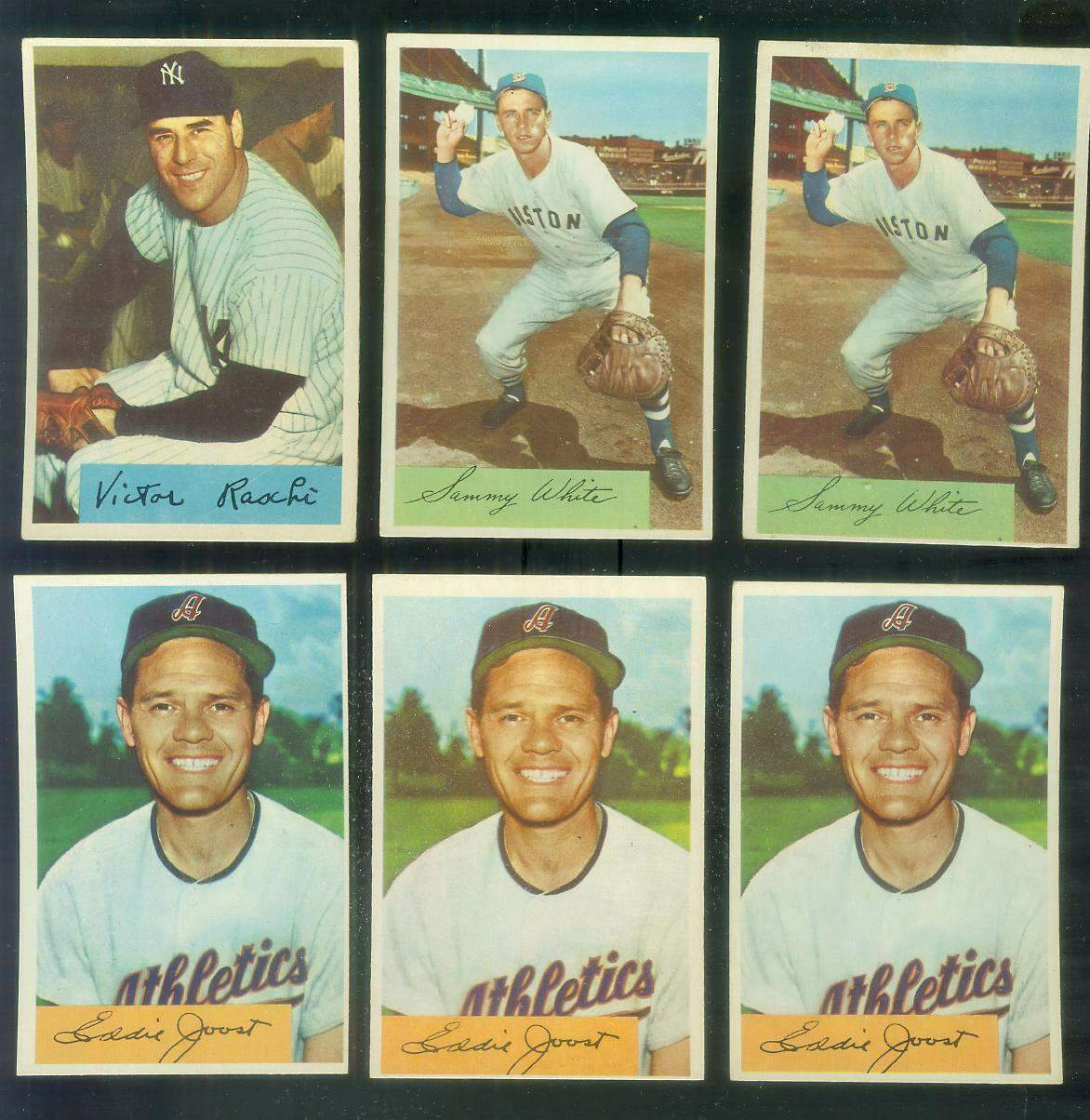 1954 Bowman # 35A Eddie Joost [ERROR VAR:Quiz Ans: 8] (A's) Baseball cards value