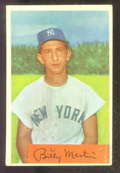 1954 Bowman #145A Billy Martin ERROR VARIATION [#asc] '.985/.983 FA' (Yanke Baseball cards value