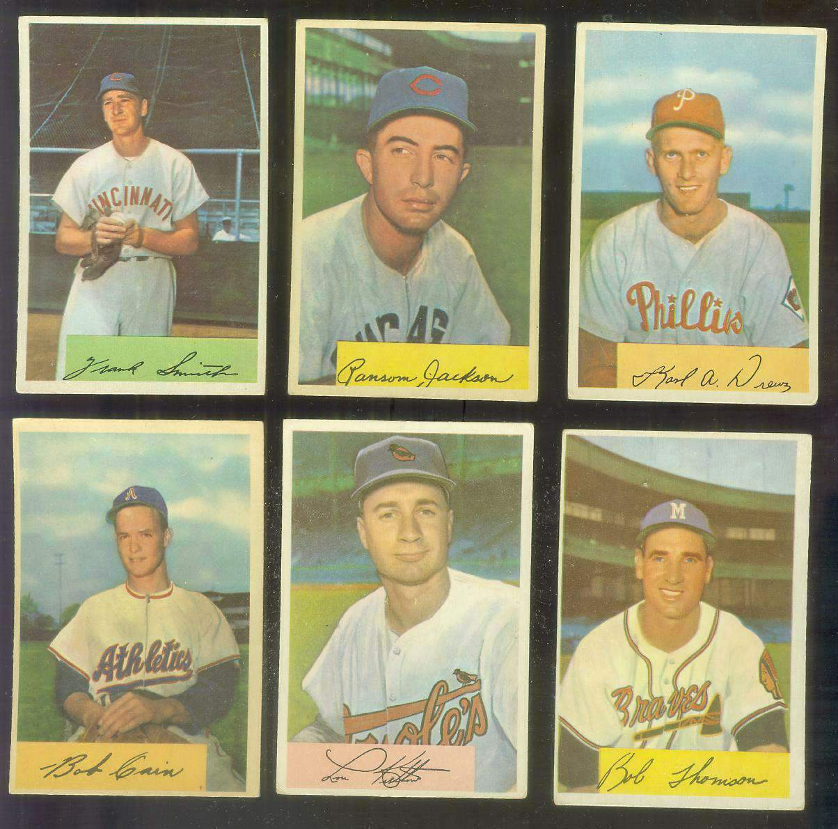 1954 Bowman #201 Bobby Thomson [#x] (Braves) Baseball cards value