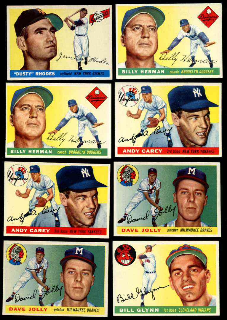 1955 Topps # 19 Billy Herman COACH [#a] (Brooklyn Dodgers) Baseball cards value