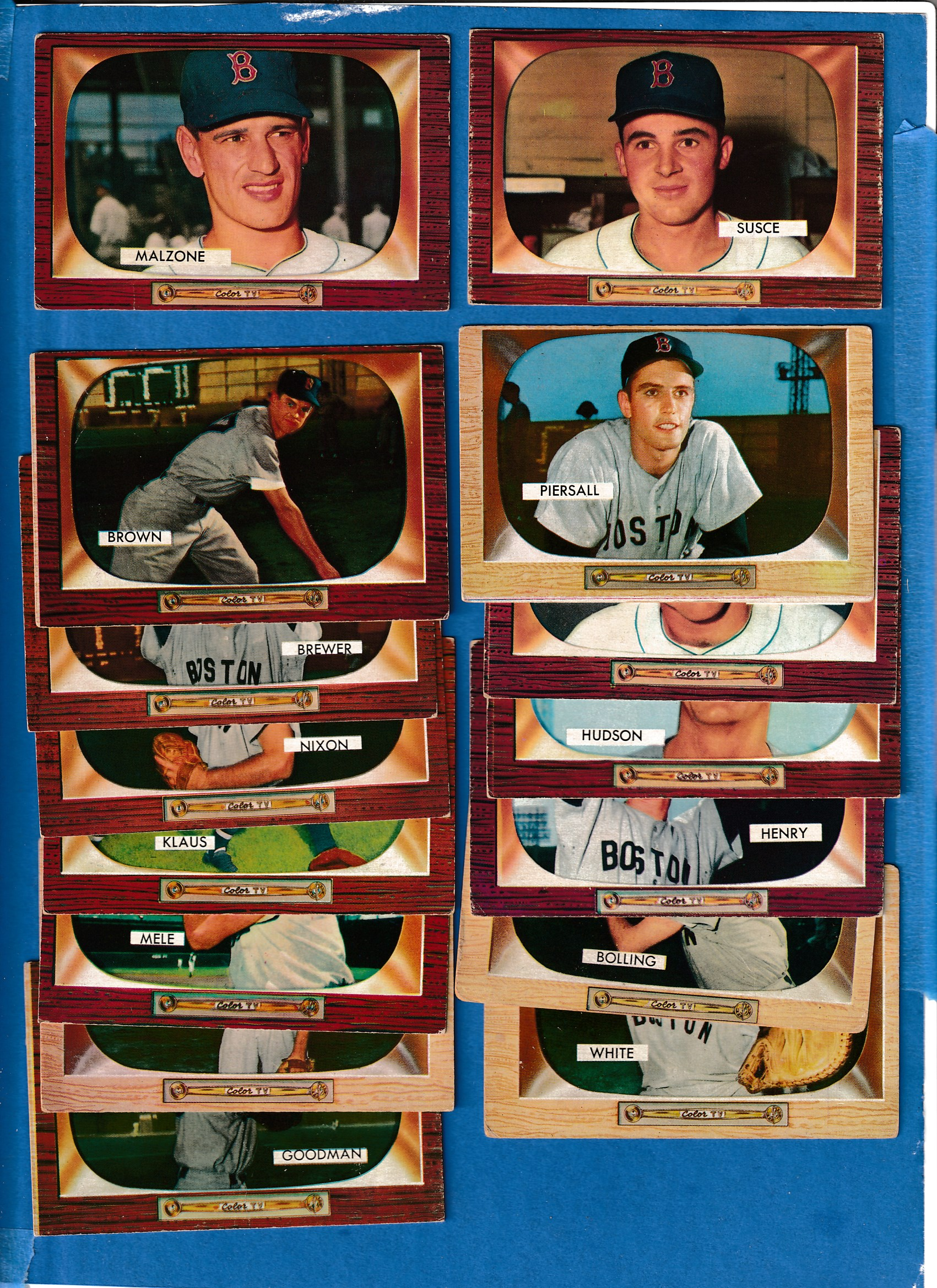 1955 Bowman  - RED SOX Starter Team Set/Lot with (15) different Baseball cards value
