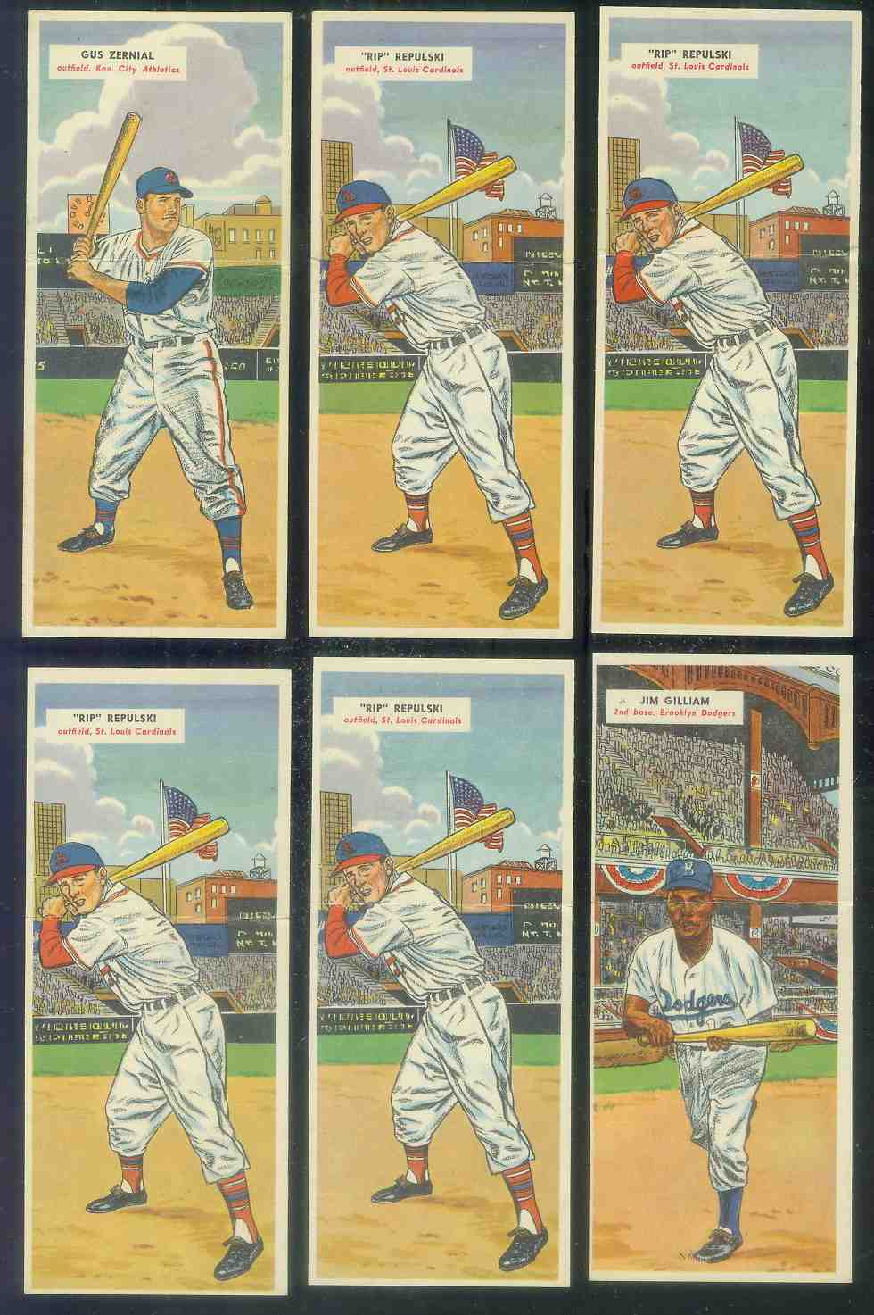 1955 Topps Double Header #125 Rip Repulski / #126 Ted Lepcio Baseball cards value
