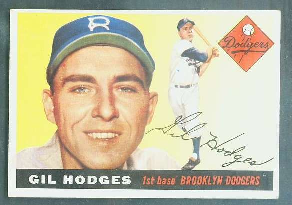 1955 Topps #187 Gil Hodges SCARCE HIGH NUMBER [#a] (Brooklyn Dodgers) Baseball cards value