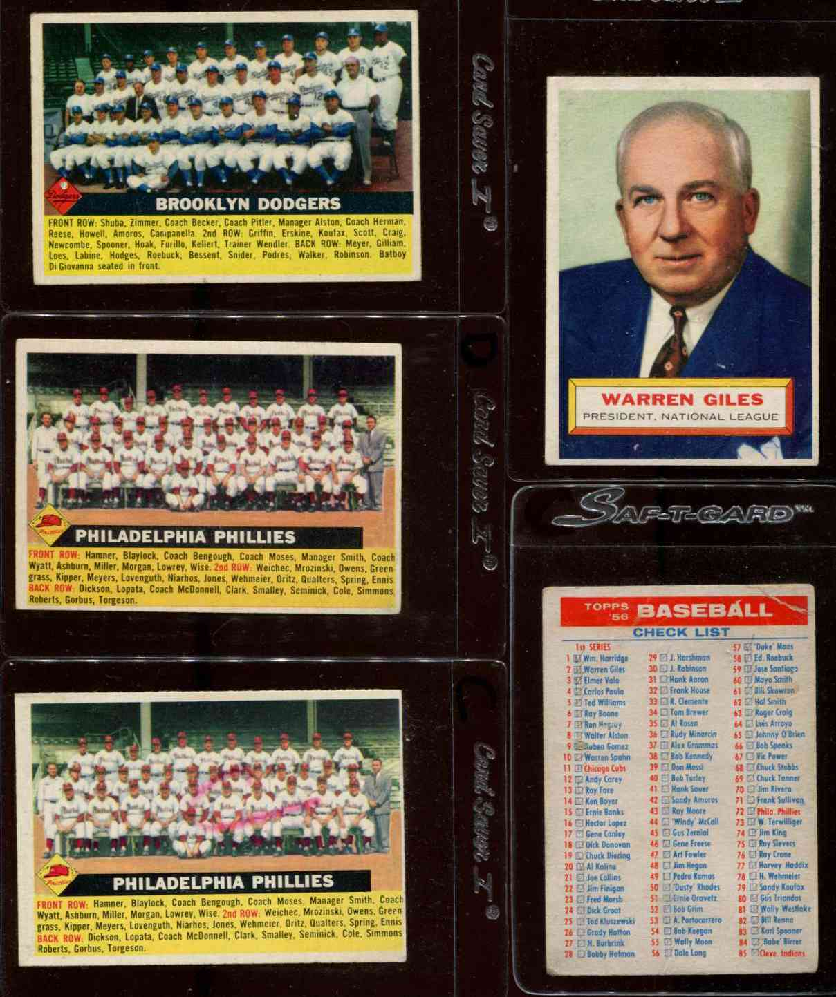 1956 Topps #.72 Phillies TEAM card - Name on left variation [#dsc] Baseball cards value