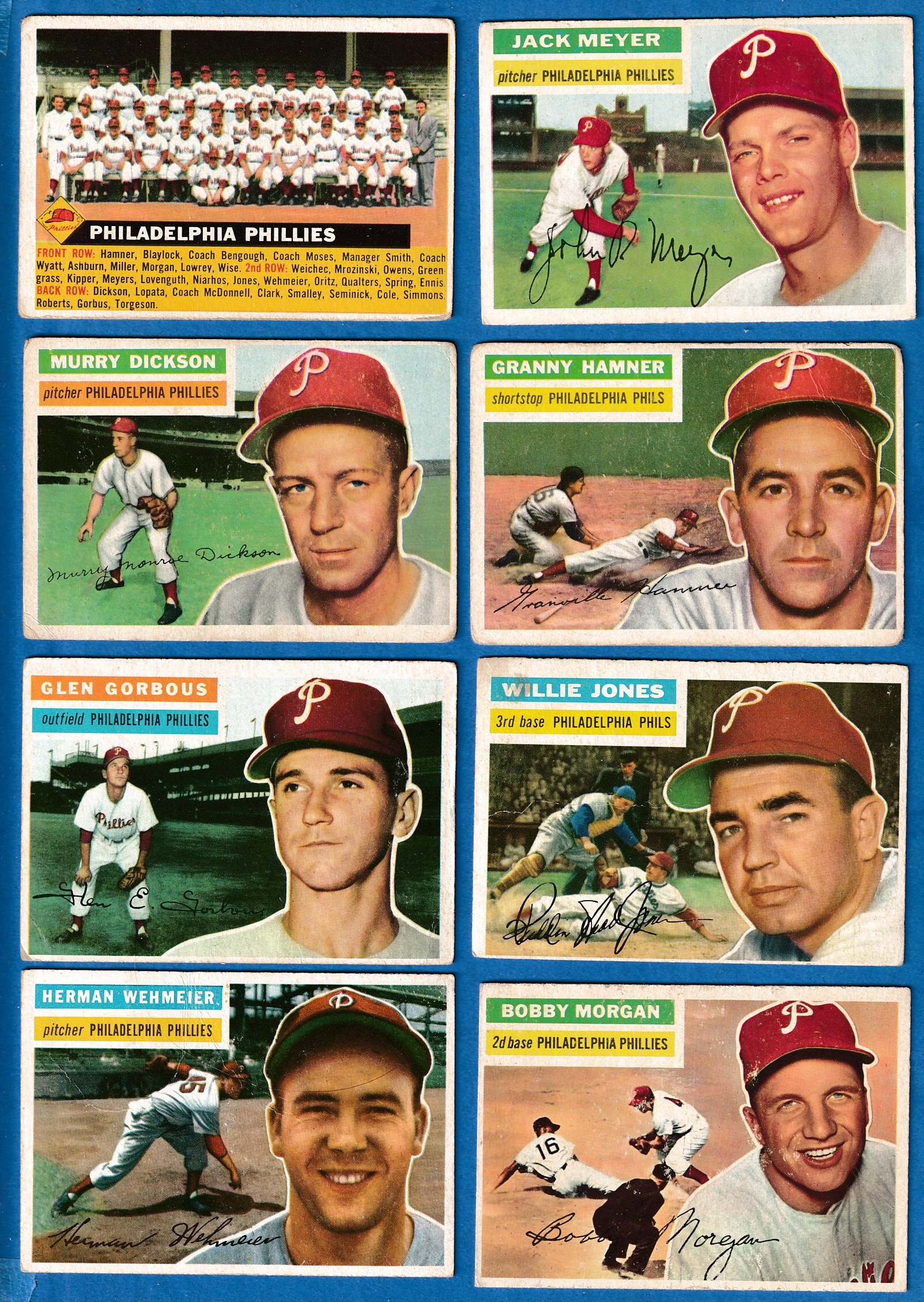 1956 Topps  - PHILLIES - Starter Team Set/Lot (8 different) Baseball cards value