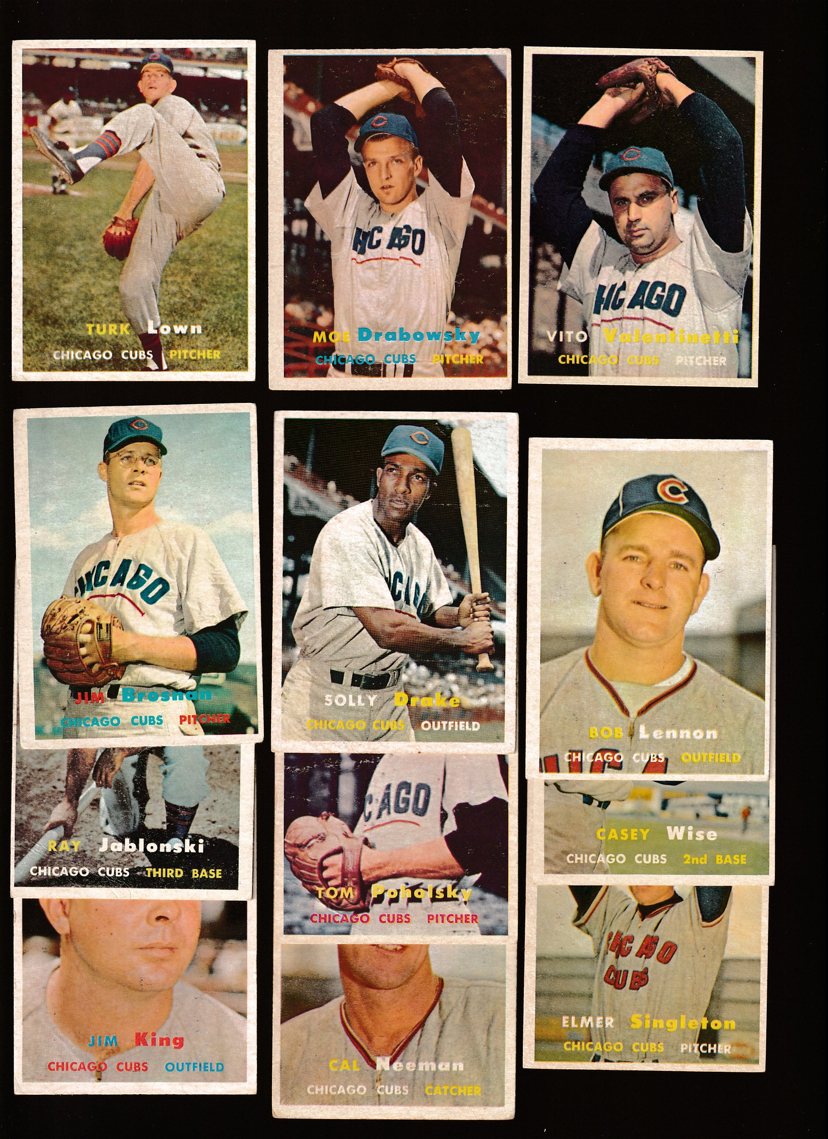 1957 Topps  - Chicago CUBS - Starter Team Set/Lot - (12) different Baseball cards value