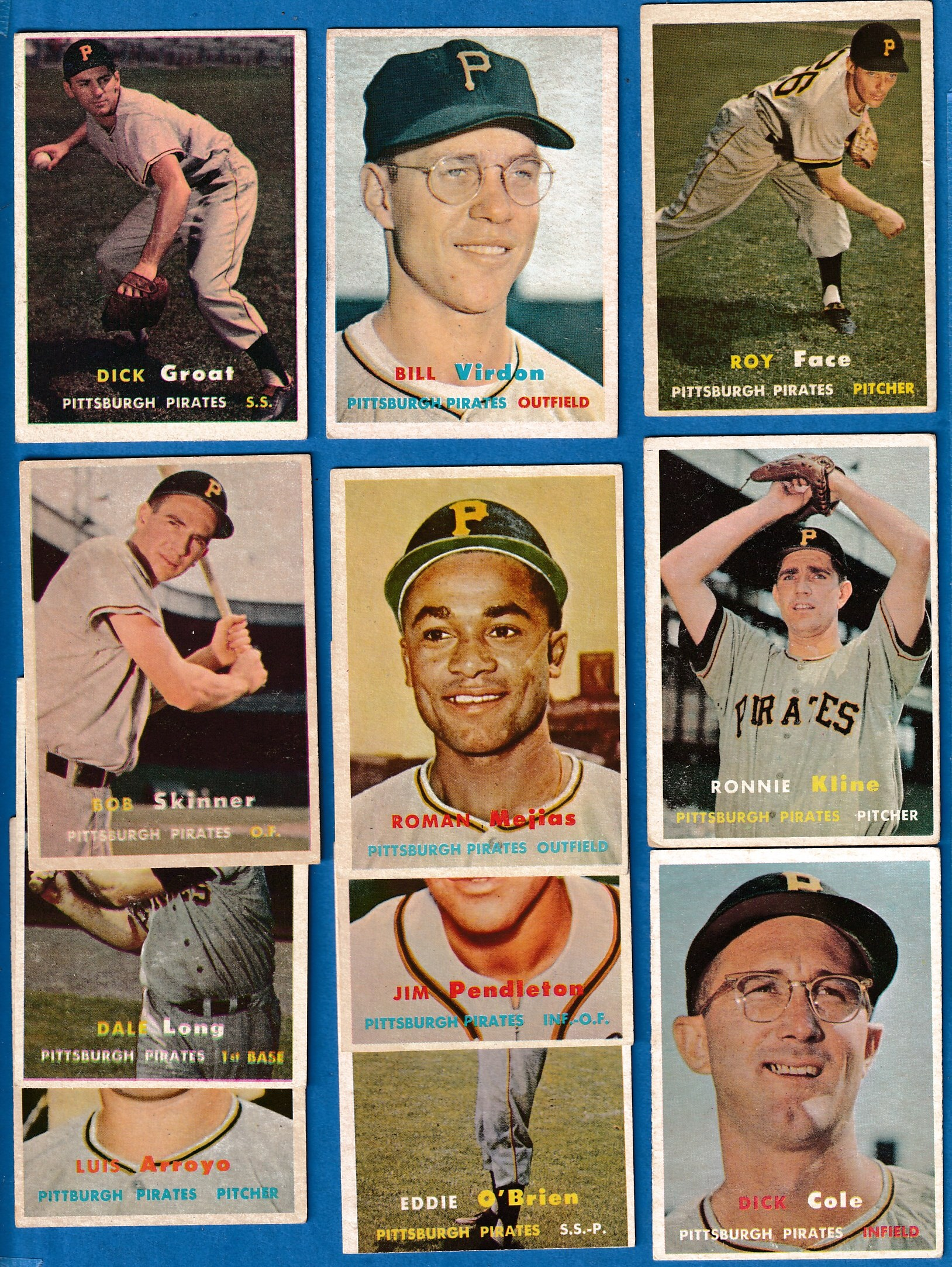 1957 Topps  - Pittsburgh PIRATES - Starter Team Set/Lot - (11) different Baseball cards value