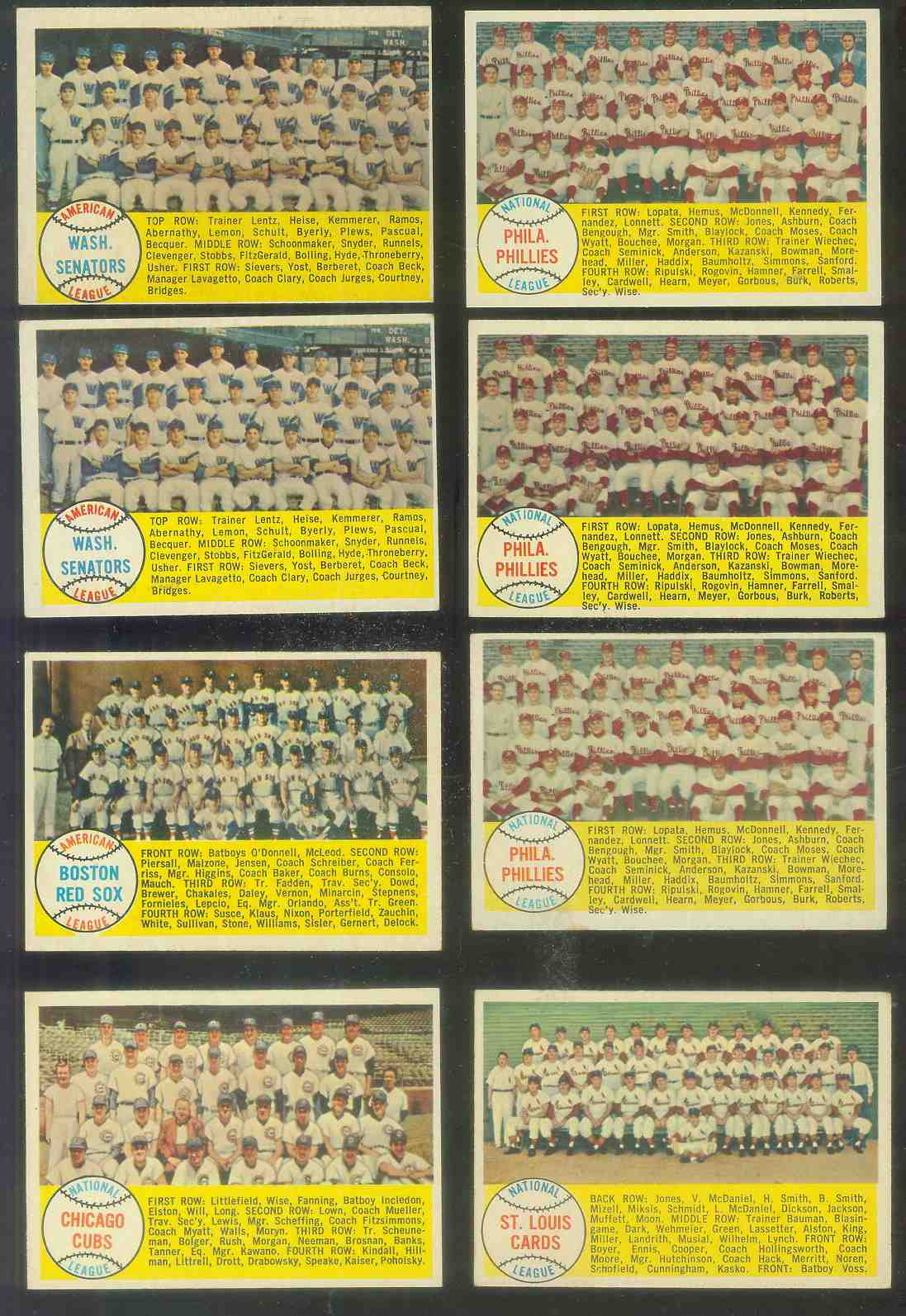 1958 Topps #134 Phillies TEAM card [#a] Baseball cards value