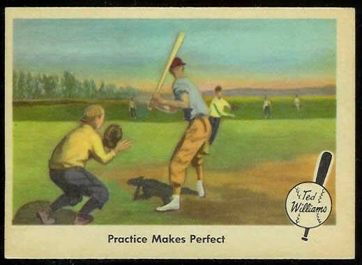 1959 Fleer Ted Williams # 3 'Practice Makes Perfect' (Red Sox) Baseball cards value
