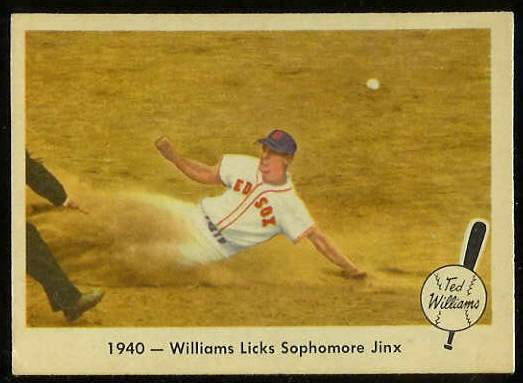 1959 Fleer Ted Williams #15 '1940 - Licks Sophomore Jinx' [#a] (Red Sox) Baseball cards value