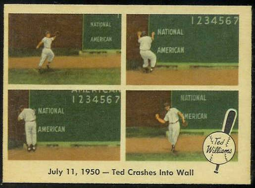 1959 Fleer Ted Williams #40 'Ted Crashes into Wall' [#x] (Red Sox) Baseball cards value
