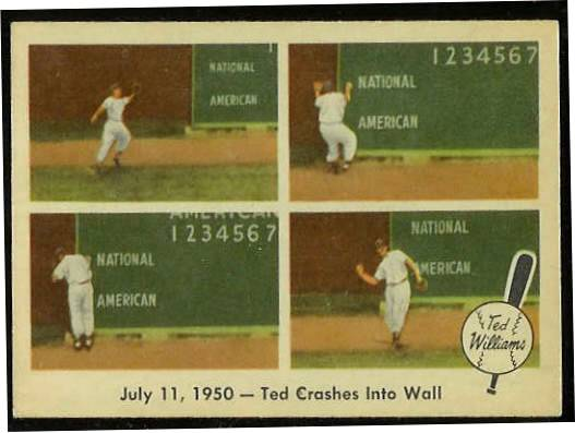 1959 Fleer Ted Williams #40 'Ted Crashes into Wall' [#c] (Red Sox) Baseball cards value