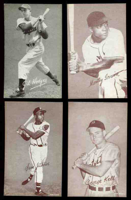 1947-66 Exhibits #129 Gil Hodges (B on cap) (Sepia) Baseball cards value