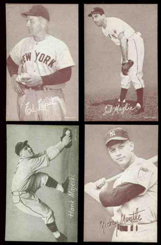 1947-66 Exhibits #189 Mickey Mantle (Batting/'ck' connected) (Sepia) Baseball cards value