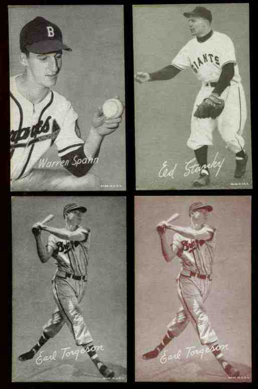1947-66 Exhibits #281 Warren Spahn ('M' on cap) Baseball cards value