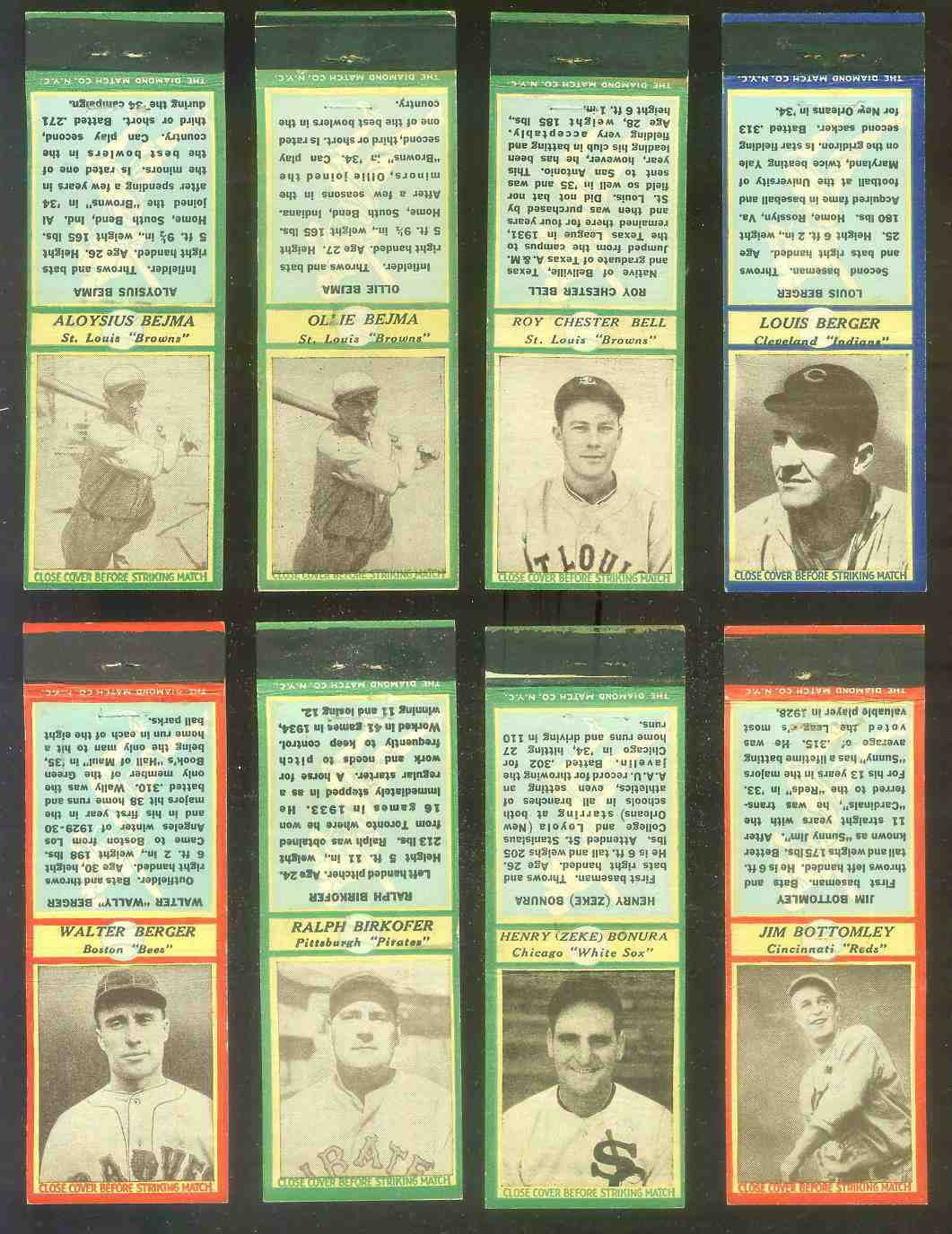 1935-36 Diamond Match Co. #.13 Zeke Bonura GREEN (White Sox) Baseball cards value
