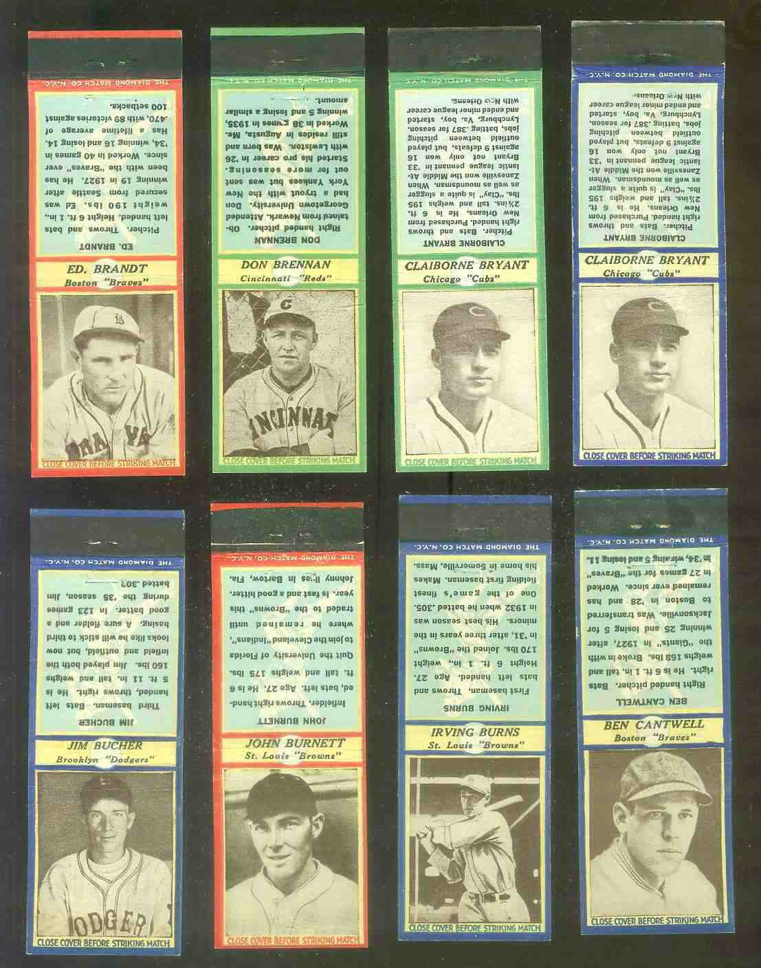 1935-36 Diamond Match Co. #.16 Don Brennan GREEN (Reds) Baseball cards value