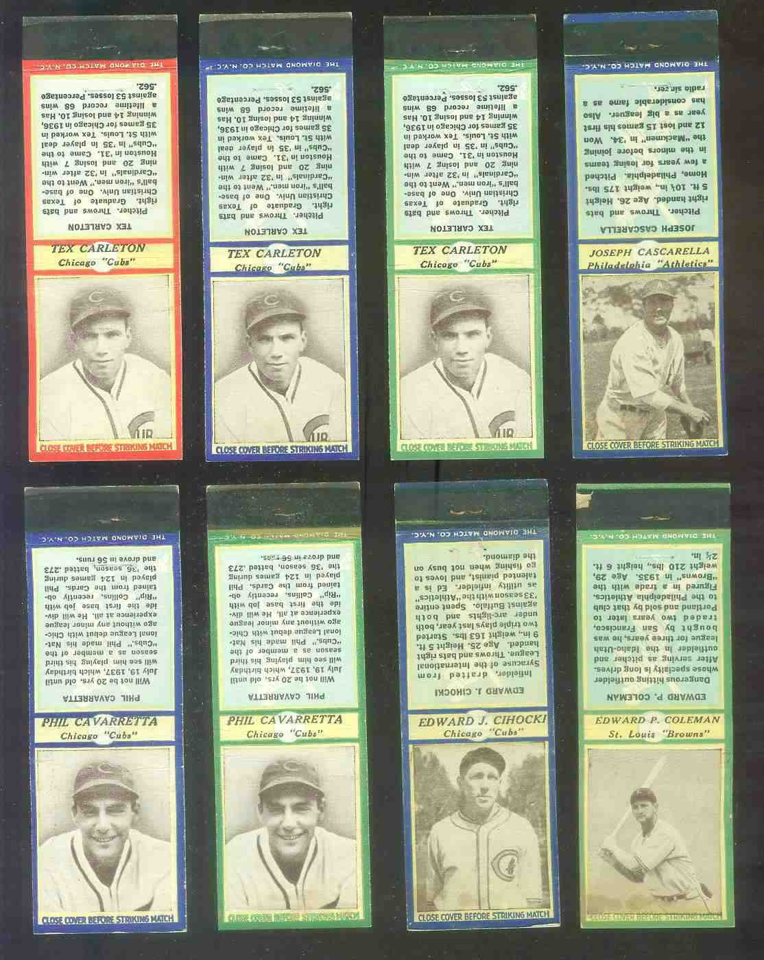 1935-36 Diamond Match Co. #.30 Phil Cavaretta BLUE (Cubs) Baseball cards value